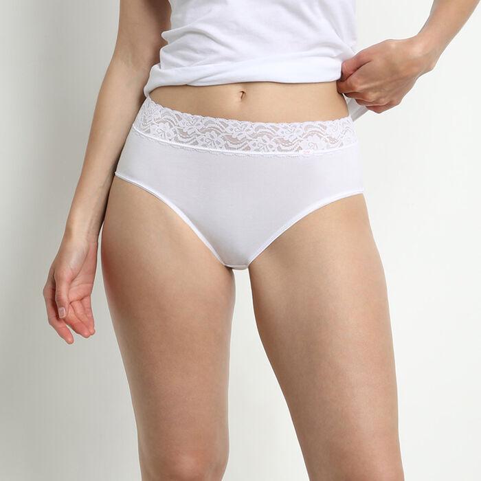 Lot de 2 slips blancs Coton Plus Féminine taille haute, , DIM