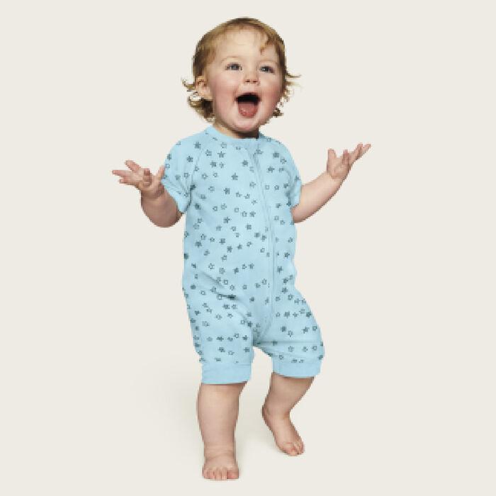 Barboteuse bébé zippée coton stretch bleu clair pluie d'étoiles Dim, , DIM