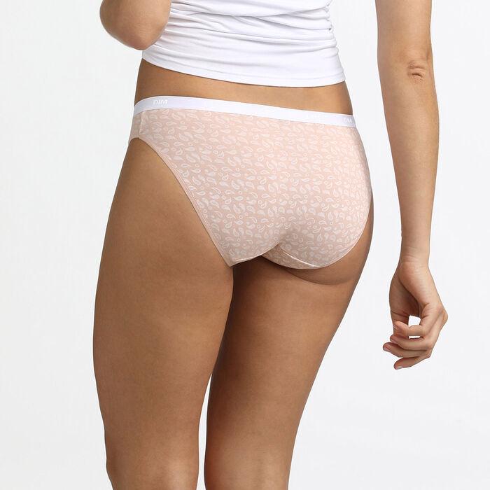 Lot de 3 culottes en coton stretch imprimé tropical rose Les Pockets, , DIM