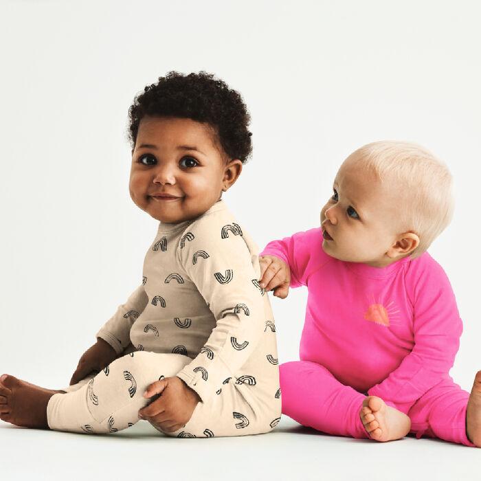 Pyjama bébé zippé en coton bio vanille imprimé rainbow Dim Baby, , DIM