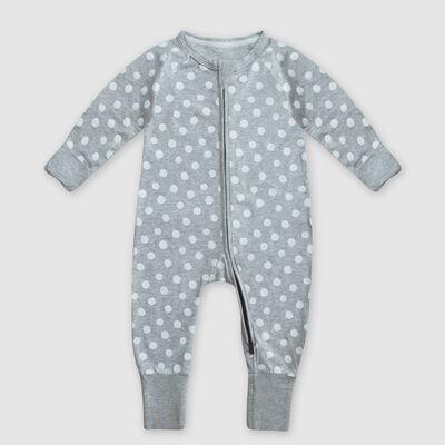Pyjama bébé zippé en coton stretch gris imprimé pois blanc Dim Baby, , DIM