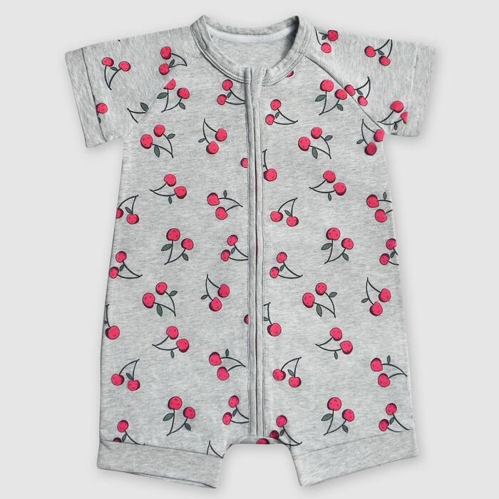 Barboteuse bébé zippée en coton stretch grise motifs cerise Dim Baby, , DIM