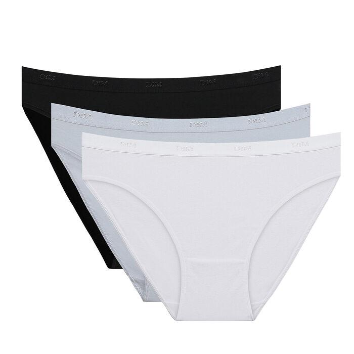 Lot de 3 slips noir/blanc/gris Les Pockets Coton, , DIM
