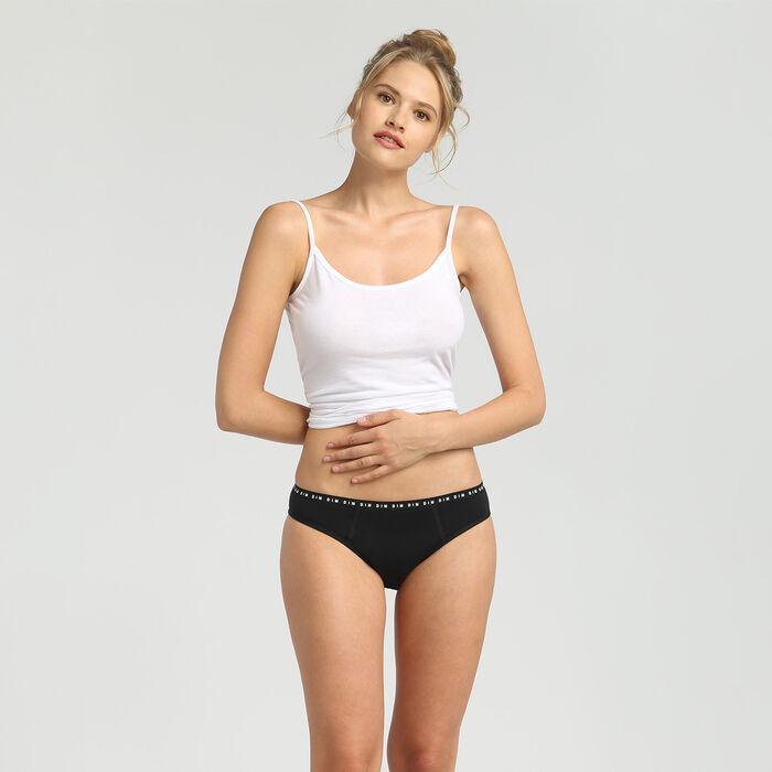 Culotte menstruelle lavable en coton noir Flux abondant Dim Protect, , DIM