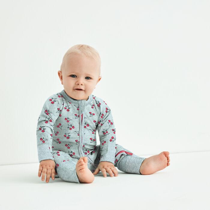 Pyjama bébé zippé en coton stretch gris imprimé cerise Dim Baby, , DIM