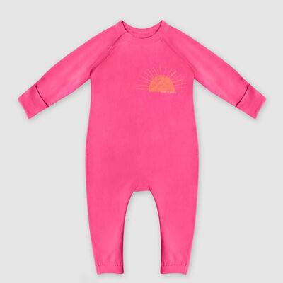 Pyjama bébé zippé en coton bio rose imprimé soleil cœur Dim Baby, , DIM