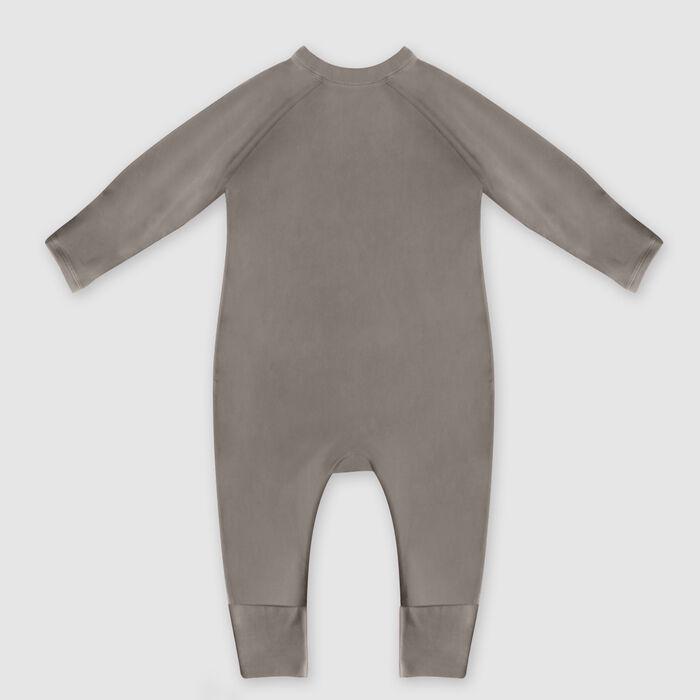 Pyjama bébé zippé en coton bio kaki imprimé rainbow cœur Dim Baby, , DIM