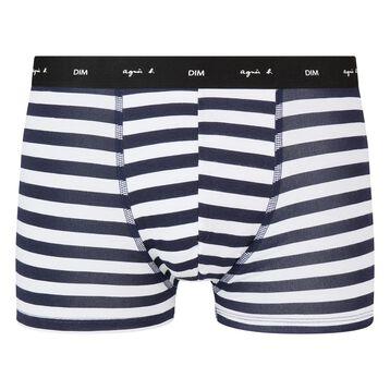 Boxer blanc en coton stretch imprimé rayures bleues Agnes B, , DIM