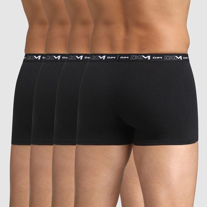 Lot de 4 boxers noirs pour Homme Coton Stretch, , DIM