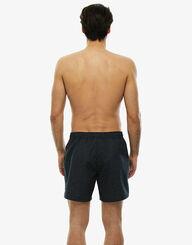 Short de bain mi-long gris chiné aux bordures contrastées, , LOVABLE