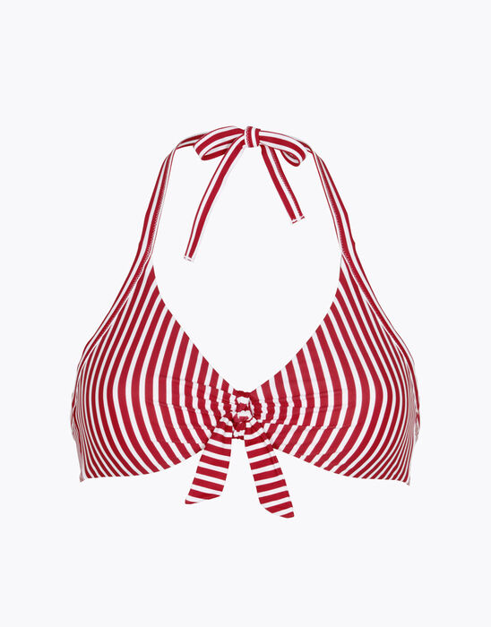 Non-wired reversible swimsuit top with red stripes, , LOVABLE