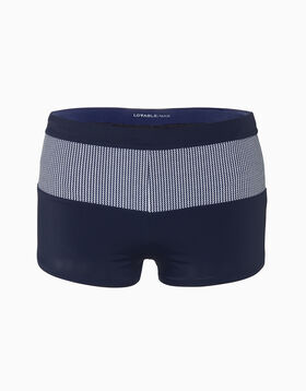 Navy blue fitted swim shorts with printed stripes, , LOVABLE