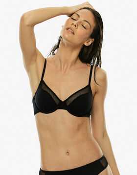 Underwire black top in microfiber with fishnet yokes, , LOVABLE