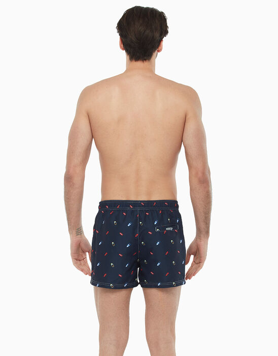 Night blue short swim shorts with boat print, , LOVABLE