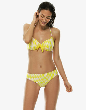 Haut de maillot de bain à armatures blanc et jaune, , LOVABLE