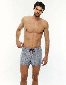 Grey and white graphic swim shorts, , LOVABLE
