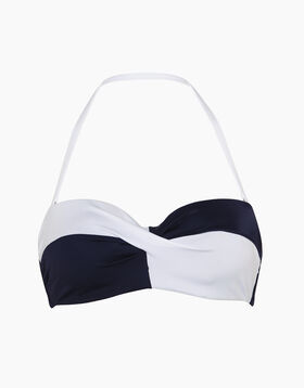 Bikini top with navy blue and white yokes, , LOVABLE