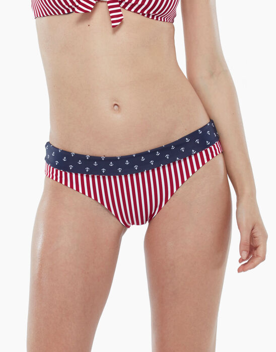 Reversible swimsuit bottom with red stripes and sailor print, , LOVABLE