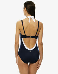 Navy and white one-piece swimsuit, , LOVABLE