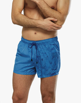 Printed blue swim shorts with tropical leafs, , LOVABLE