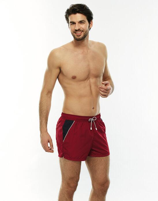 Short de bain court rouge avec poches contrastées, , LOVABLE