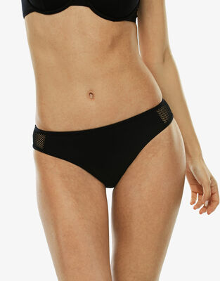 Black bikini bottom with mesh yokes, , LOVABLE