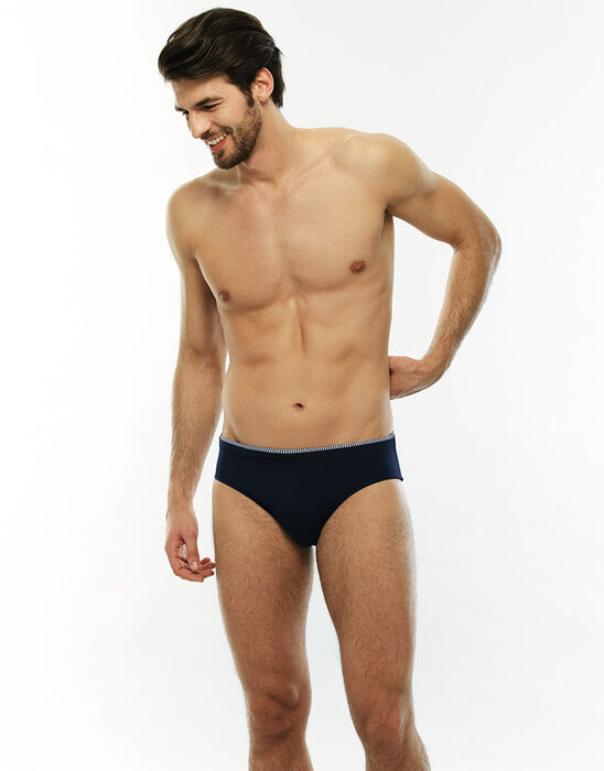 Navy blue swim briefs with printed stripes, , LOVABLE