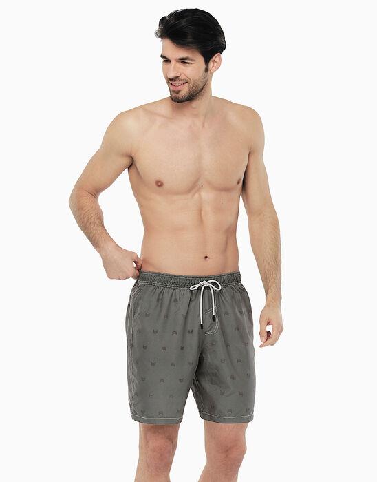 Long grey swim shorts with car print, , LOVABLE