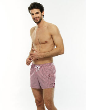 Short cotton swim shorts with red and white stripes, , LOVABLE
