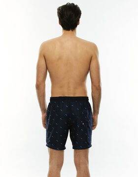 Long black swim shorts with contrasting print, , LOVABLE