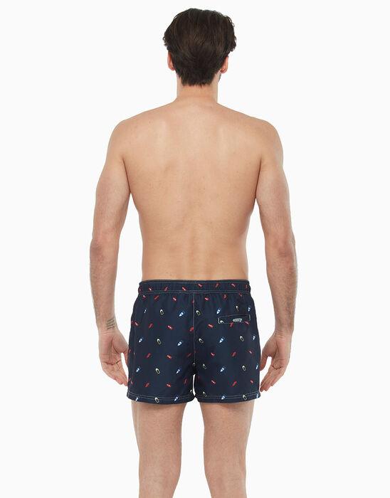Night blue short swim shorts with boat print, , LOVABLE
