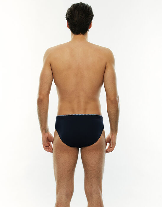 Slip de bain bleu marine avec une bande imprimée, , LOVABLE