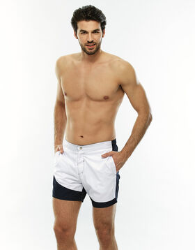Navy blue and white swim shorts, , LOVABLE