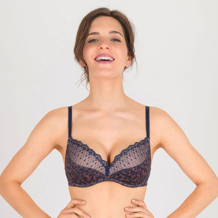 Grey print non-wired T-shirt bra - Modern Chic-WONDERBRA