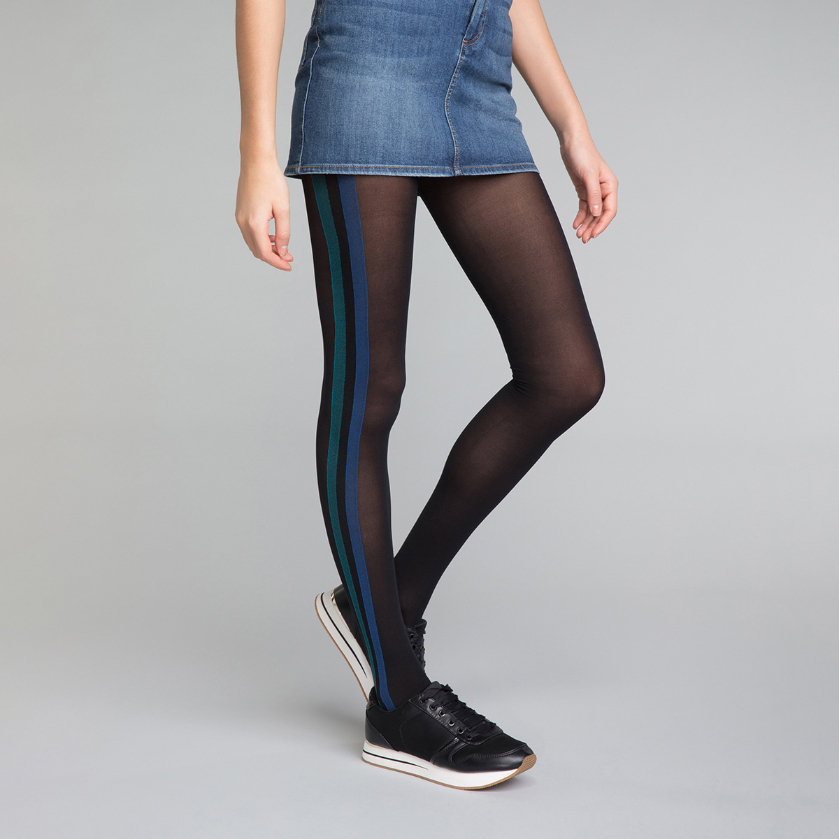 49563e11a Black and Blue Sporty Look 40 Tights - DIM Style, ...