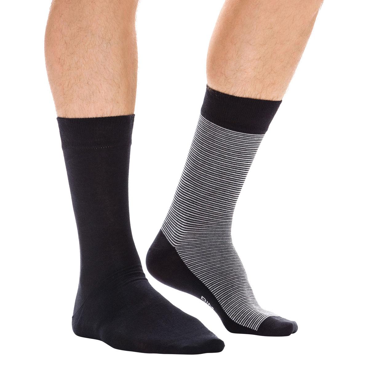 DIM Lot de 2 paires de Chaussettes Homme Fil d/'Ecosse LISLE Marine