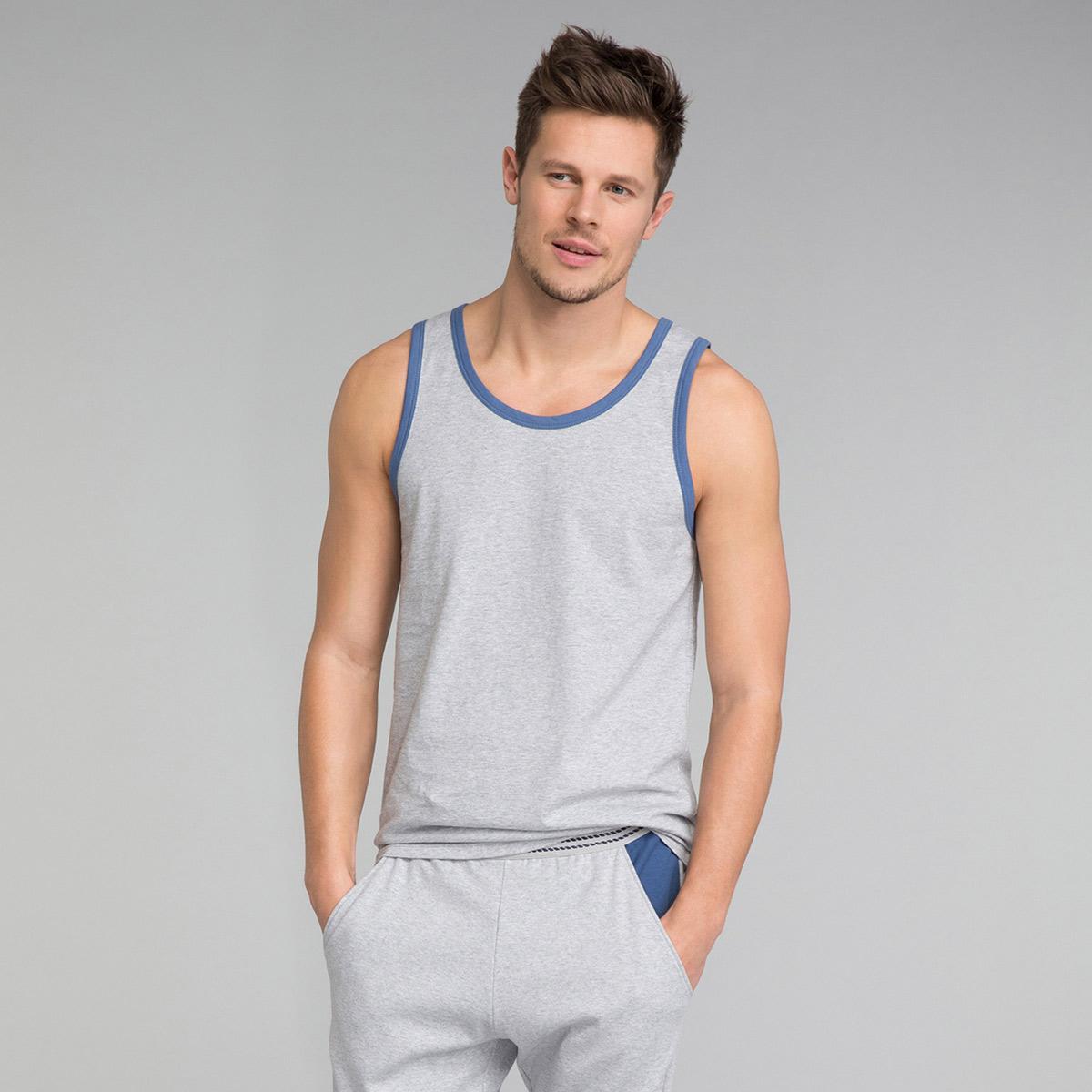 Débardeur pyjama gris chiné détail bleu indigo